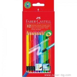 """Изтримаеми цветни моливи, 12 цвята - """"Faber Castell"""""""