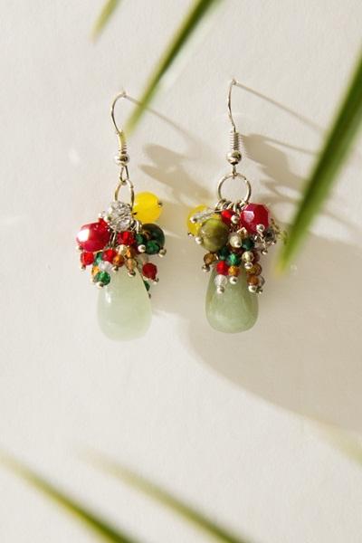"""Обеци с полускъпоценни камъни """"New cristal wave * Red Jungle"""" - """"SiddhArta handmade"""""""