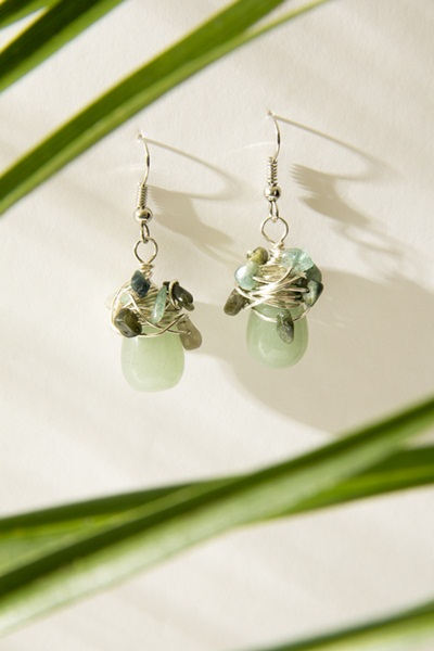 """Обеци с полускъпоценни камъни """"New cristal wave * Green Jungle"""" - """"SiddhArta handmade"""