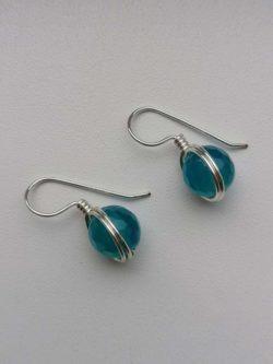 """Обеци с полускъпоценни камъни """"Wire * Blue Agate"""" - """"SiddhArta hendmade"""""""