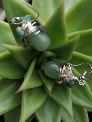 """Обеци с полускъпоценни камъни """"Green Jungle"""" - """"SiddhArta handmade"""