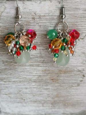 """Обеци с полускъпоценни камъни """"Red Jungle"""" - """"SiddhArta handmade"""""""
